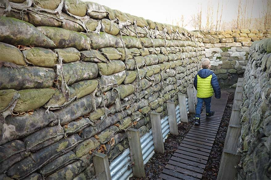 Day trip to Ypres and the war sites in Flanders Fields with kids - Yorkshire Trench and Dug-Out