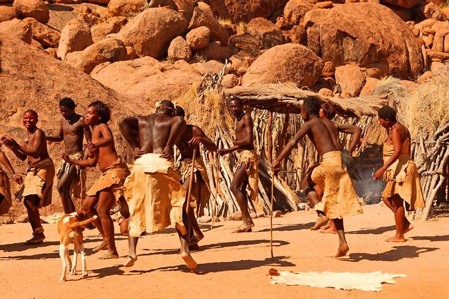Traditional Damara tribe dance performance Namibia