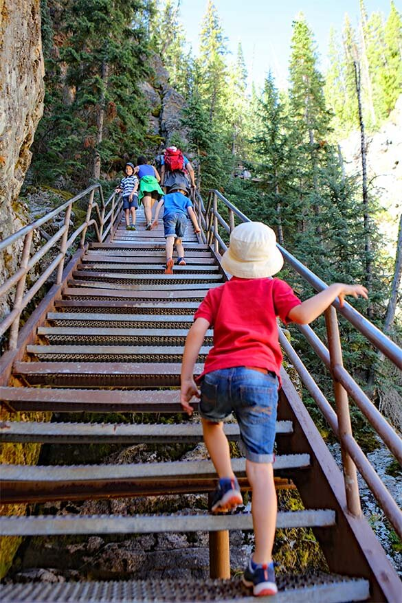 Uncle Tom's Trail Staircase - hiking in Yellowstone with kids