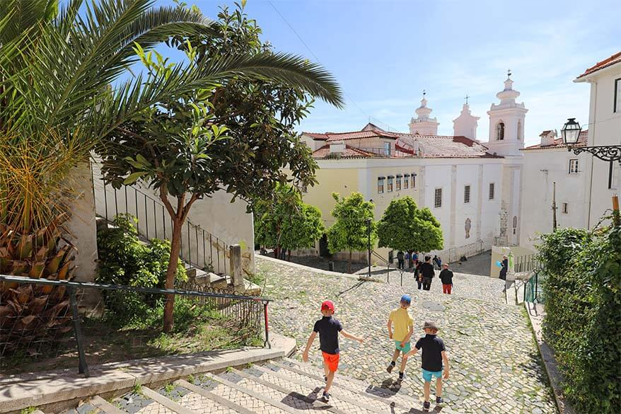 Exploring Alfama district in Lisbon with kids
