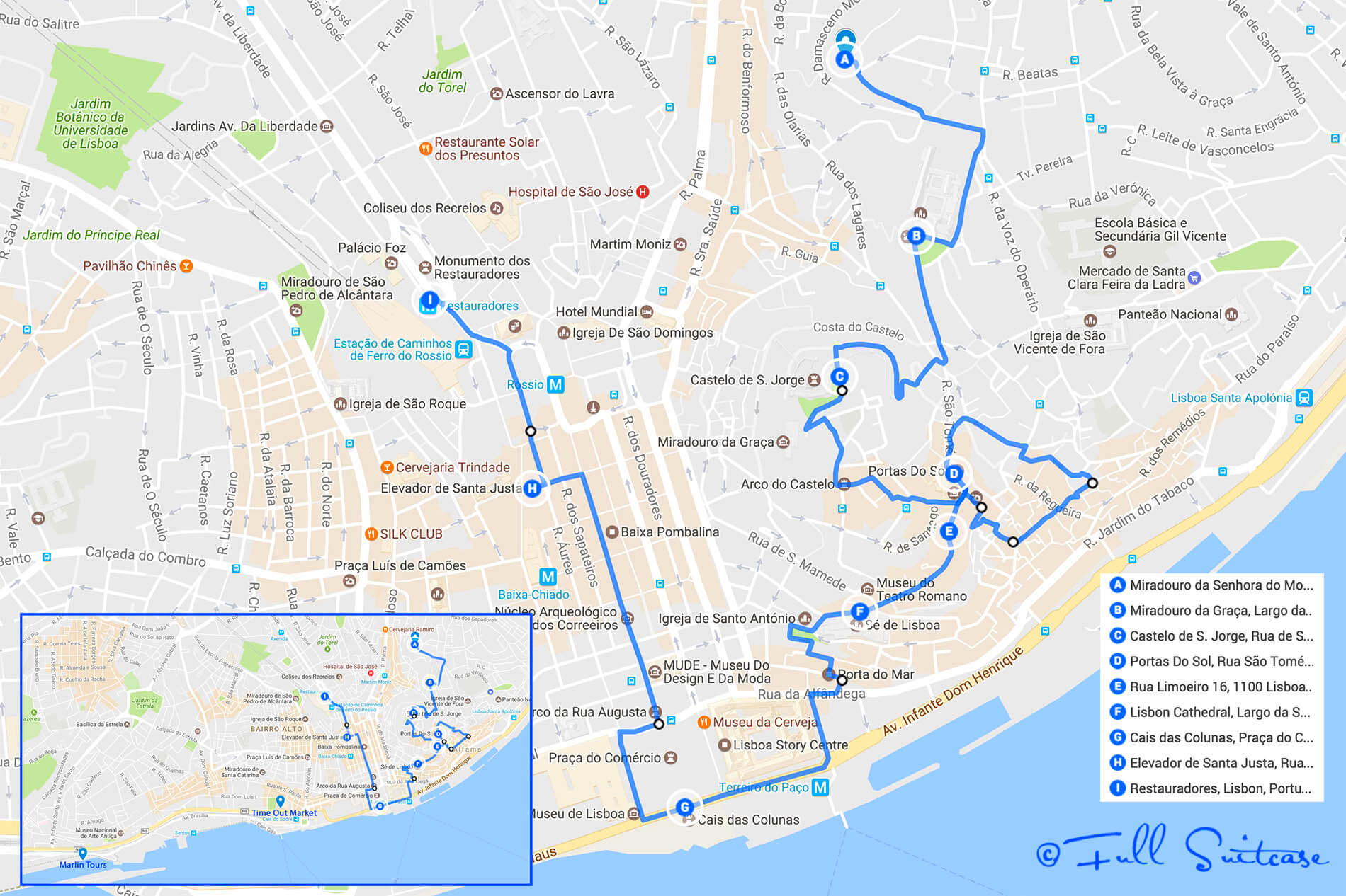 How To See The Best Of Lisbon In One Day And With Kids In Tow - Portugal hiking map
