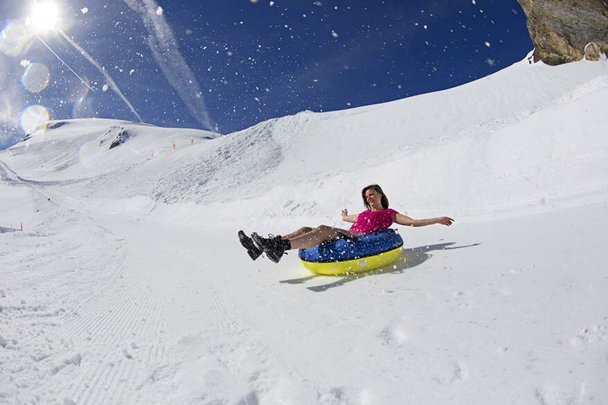 Summer snow tubing at Titlis in Switzerland