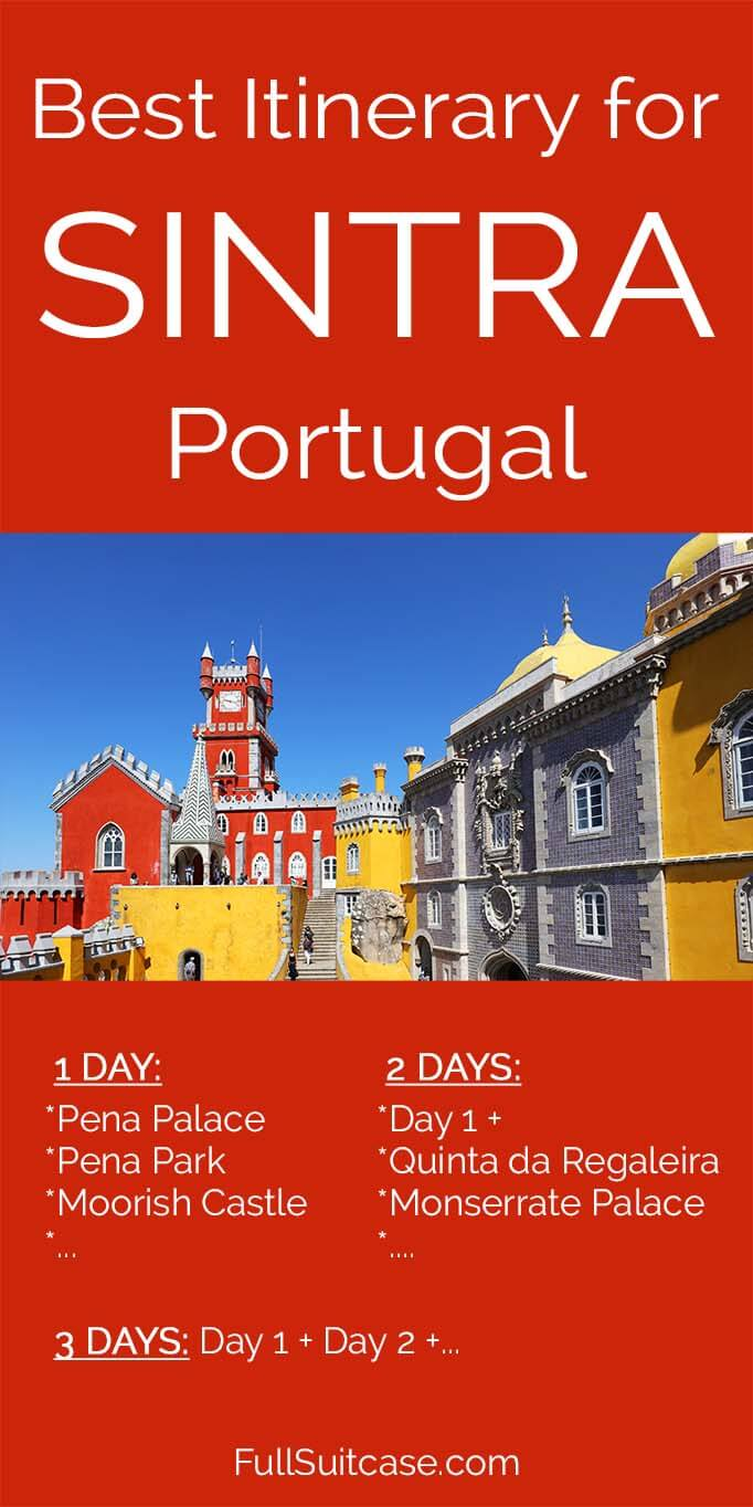 Best itinerary suggestions for one to three days in Sintra Portugal