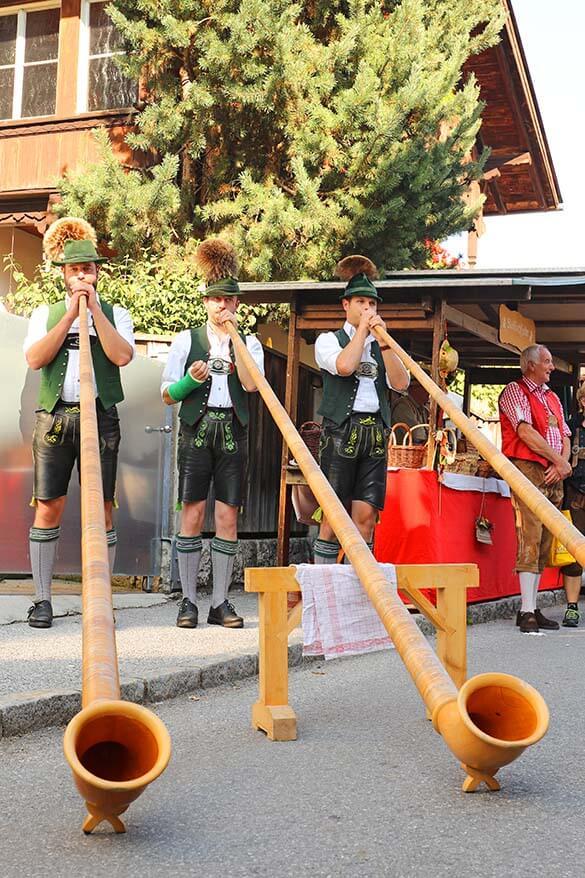 Austrian alpbhorn - Alps horn performance during the transhumance and annual farmers market in Alpbachtal Tyrol
