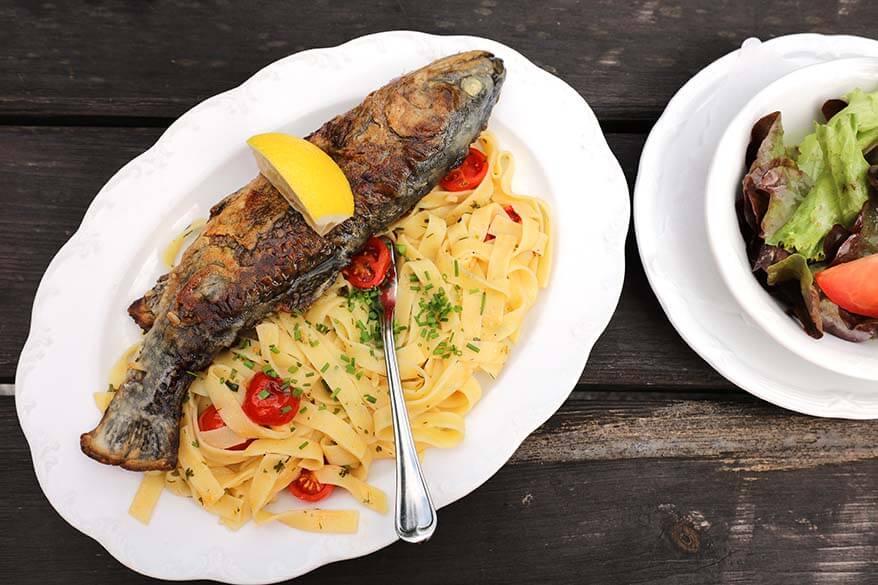 Fresh trout served in Gasthof Kaiserhaus in Tyrol Austria