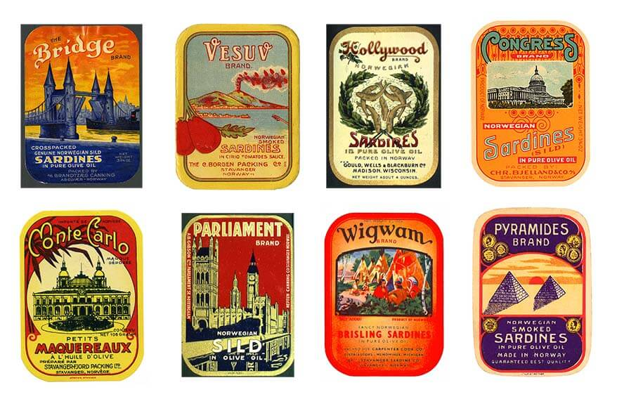Norwegian canned sardines labels from the beginning of the 20th century