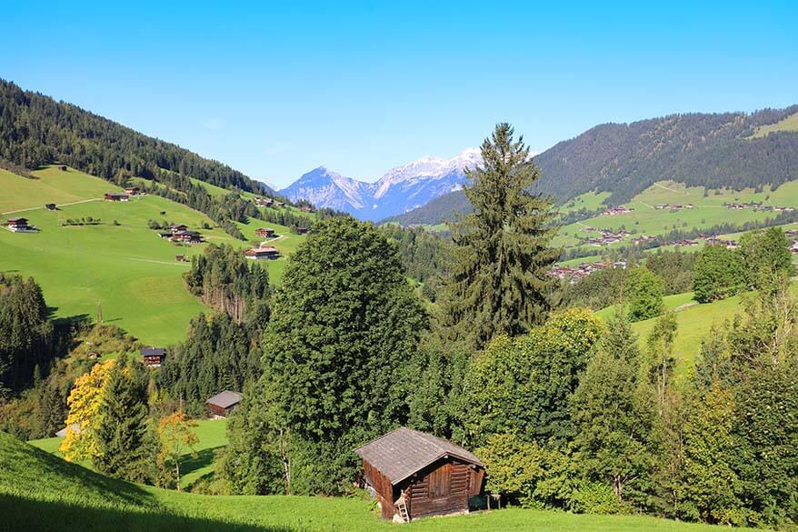 Alpbachtal region in Tirol mountains in Austria