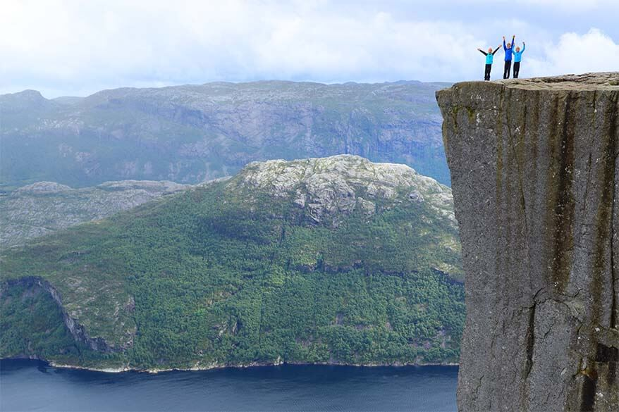 Hiking to the Pulpit Rock with kids. Preikestolen at the Lysefjord in Norway