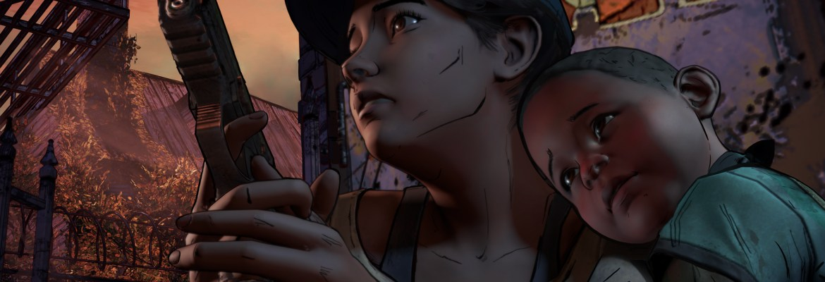 The Walking Dead A Telltale Series New Frontier showing character holding a gun with a young child grasping her arm