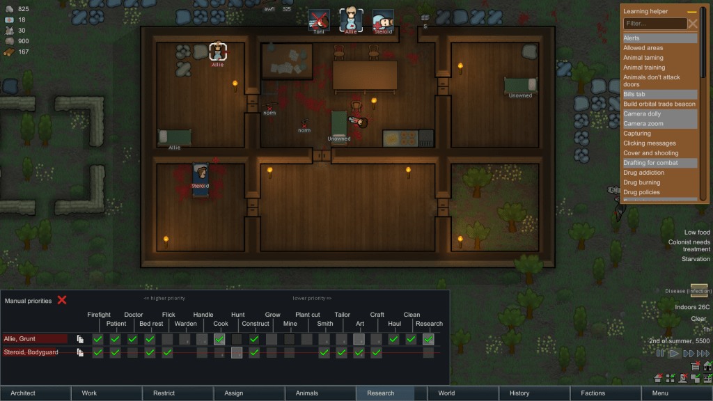 RimWorld gameplay from top-down view