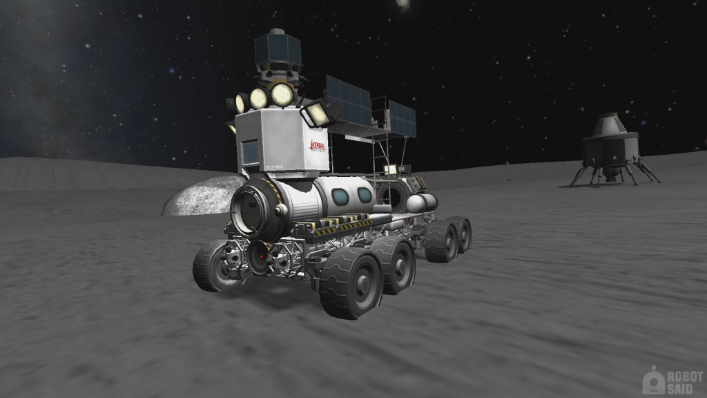 Kerbal Space Program gameplay showing a rover device on the moon