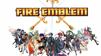 Fire Emblem logo with characters below