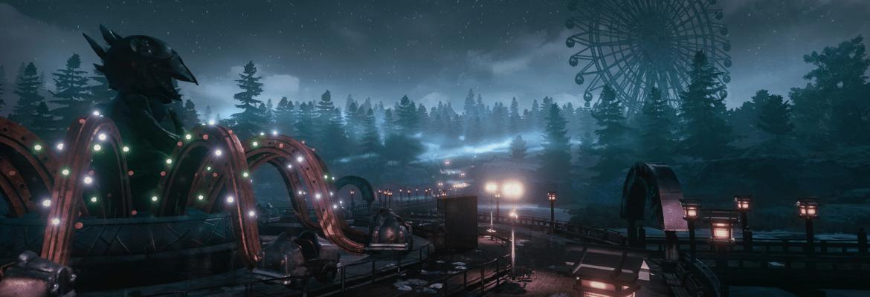 The Park artwork showing a lit up abandoned fairground