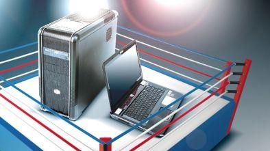 Desktop vs Laptop in a boxing ring