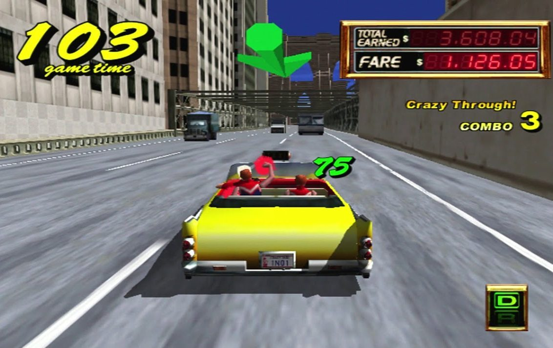 Gameplay from Crazy Taxi on the SEGA Dreamcast