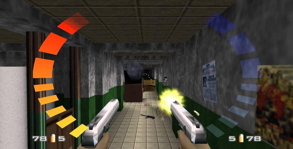 GoldenEye N64 shooting up enemies