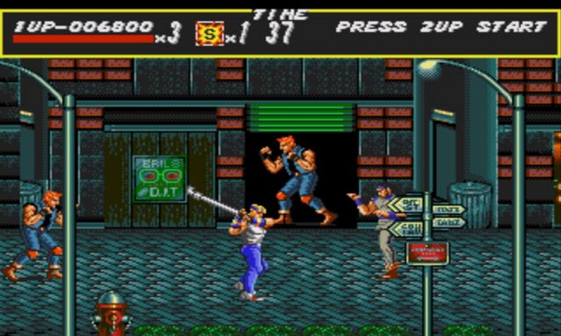 Gameplay from the original Streets of Rage game