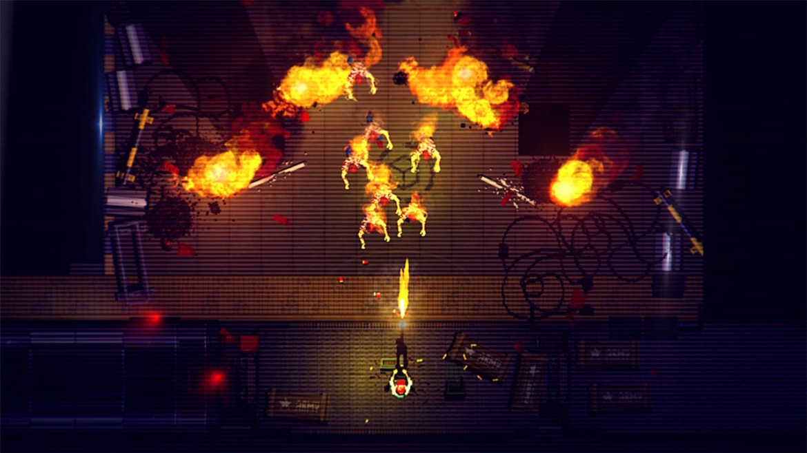 Gameplay from top-down shooter Garage on the Nintendo Switch