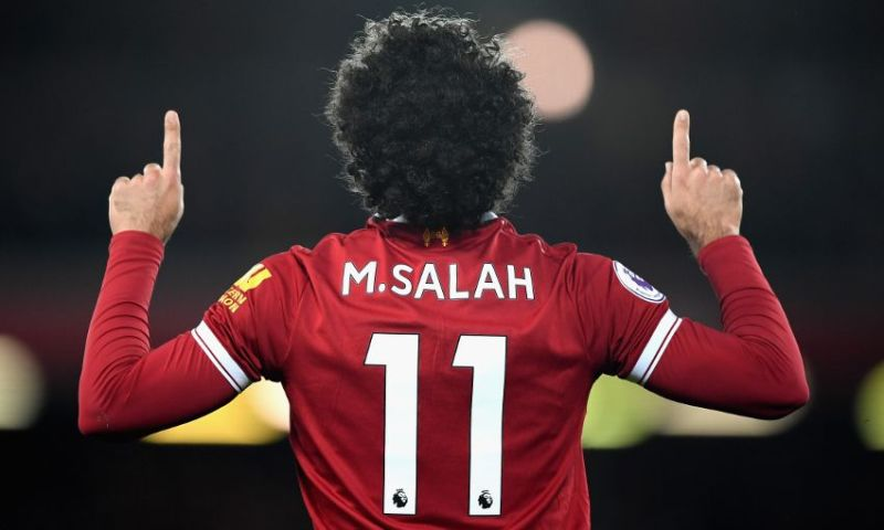 Mo Salah from behind in his red Liverpool kit