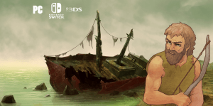 Cover image of Island the game, listing formats it will be available on and a character from the game next to a shipwreck.