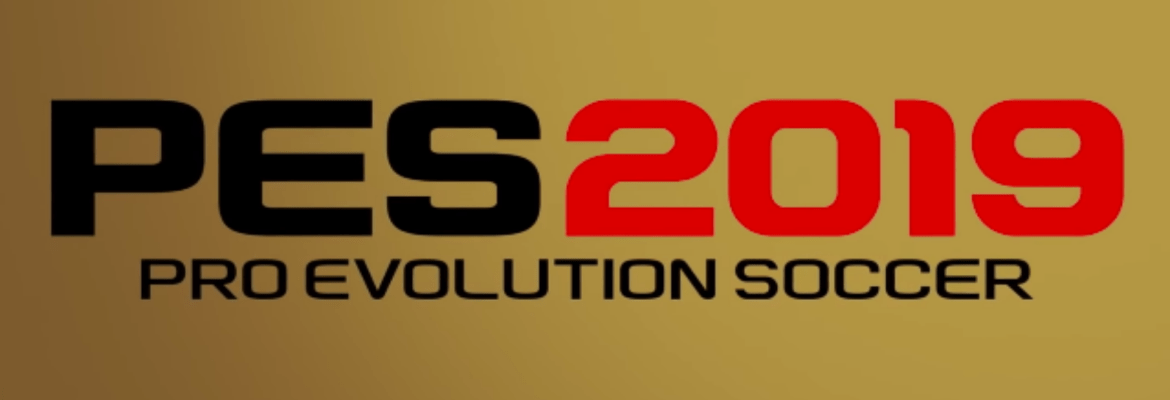 The PES 2019 logo on a gold background