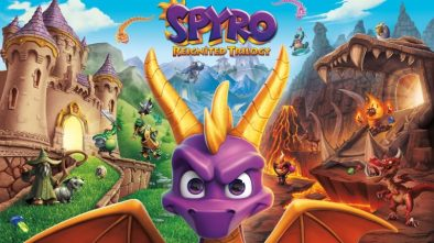 Spyro staring at the viewer with a merged background from all three Spyro titles