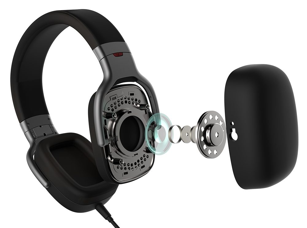 Edifier H880 with the right ear pad dissected, revealing all the inner parts of the headphones ear piece