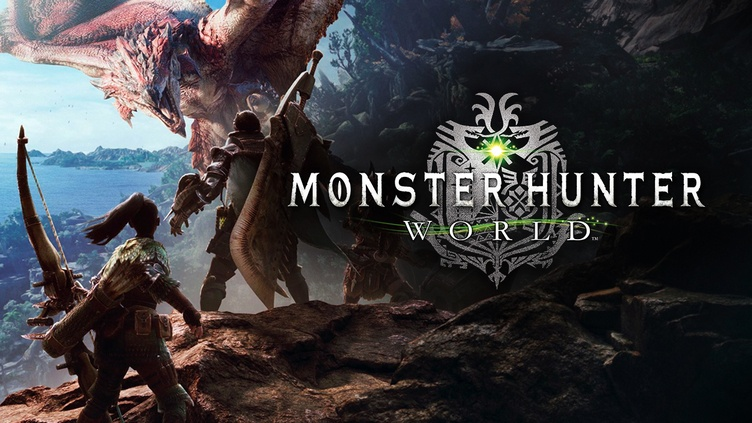 Monster Hunter World logo with hunter standing facing a monster in the background