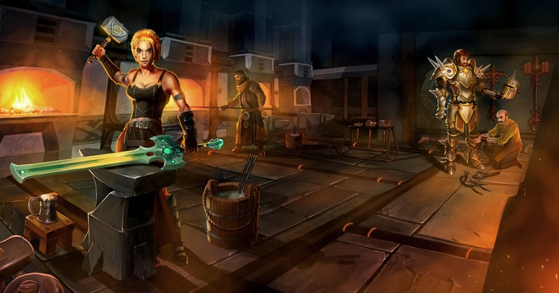 Artwork from RuneScape showing a woman smithing a sword and a man being measured for armour in the background