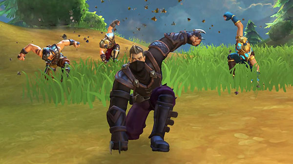 Realm Royale different classes having just landed on the ground.