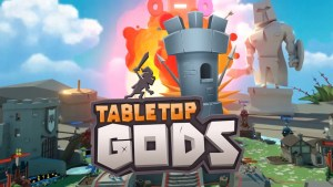 Tabletop Gods logo with exploding castle turret in background