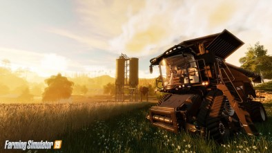 Farming Simulator 19 logo with a combine harvester in the background