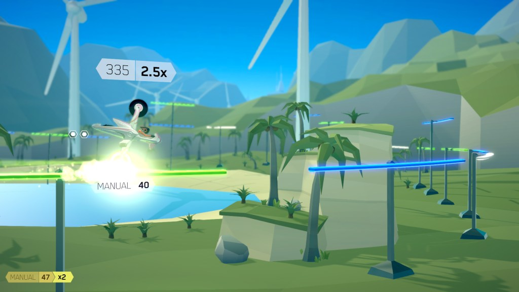 Gameplay from FutureGrind showing a bike grinding along a rail upright