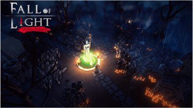 Fall of Light gameplay footage in a graveyard with the logo embossed in the top left corner