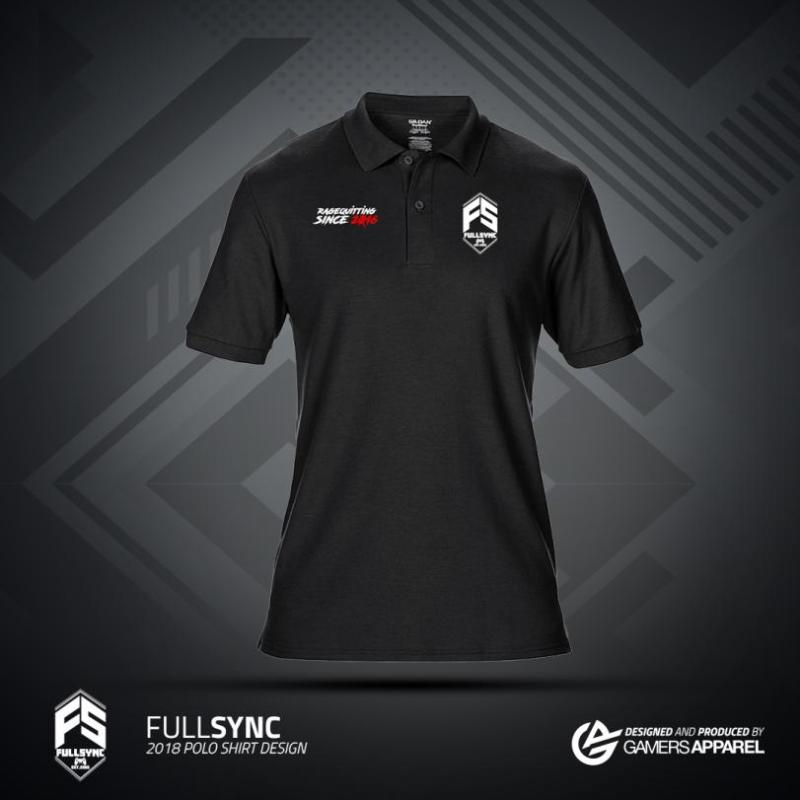 FULLSYNC Polo in black available at the gamers apparel merch store