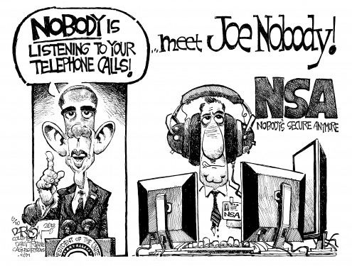 Political cartoon demonstrating the US government spying on the public