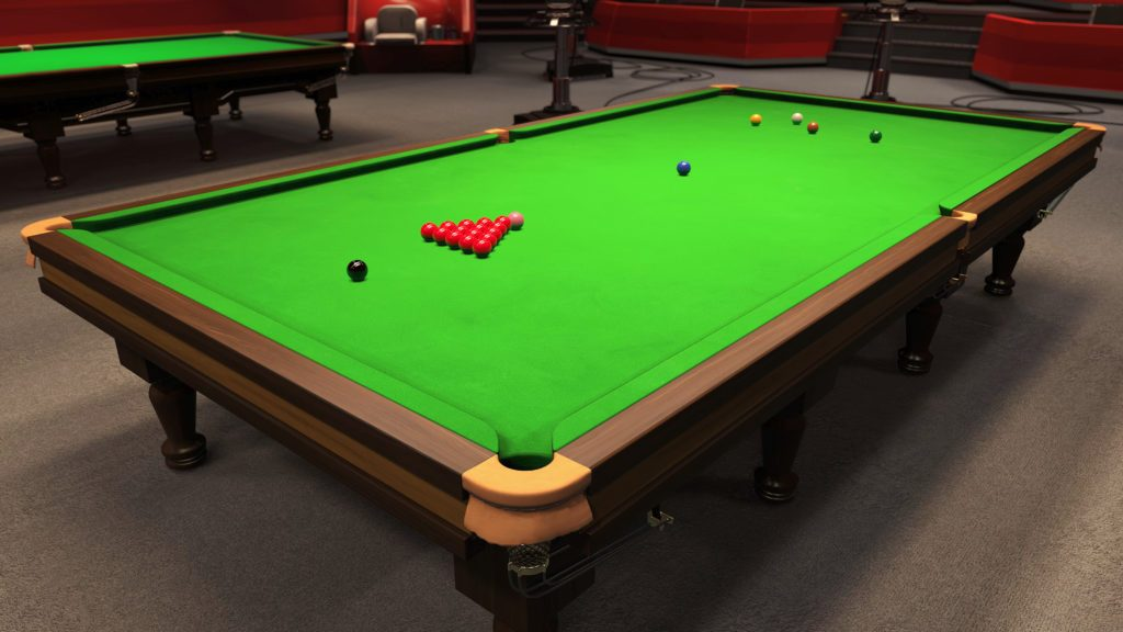 This is Snooker gameplay screenshot of the snooker table set up for a game to begin