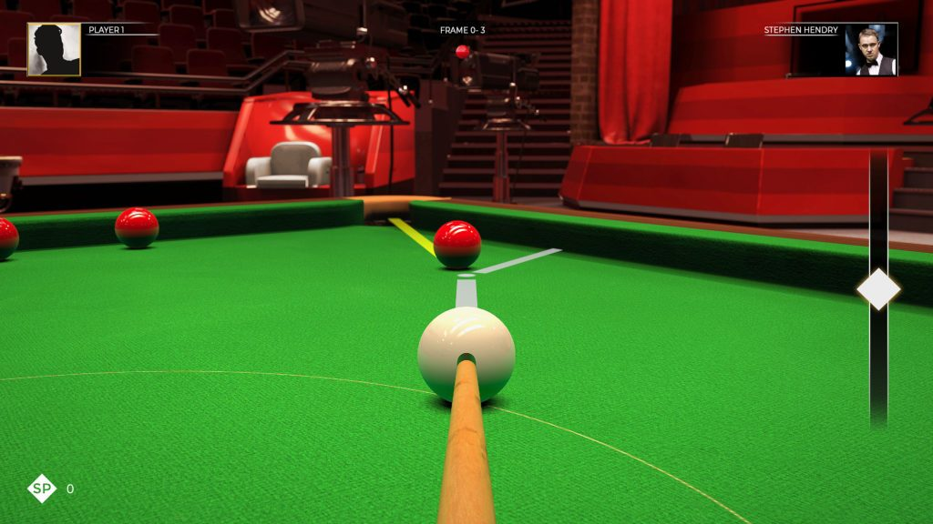 This is Snooker gameplay screenshot lining up a red ball