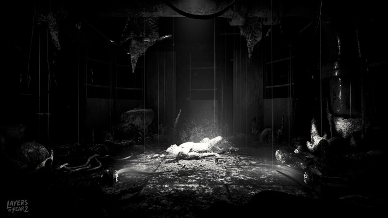 Layers of Fear 2 body in a dark room