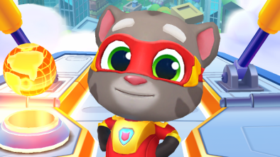 Talking Tom Hero Dash character posing as a superhero