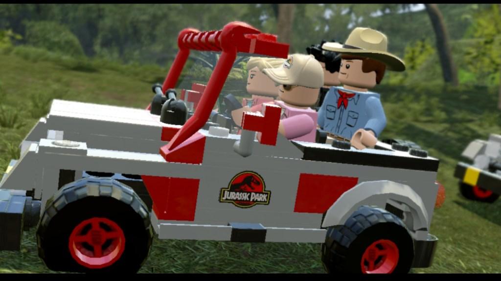 LEGO Jurassic World jeep riding through the park