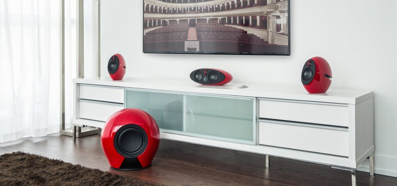 Edifier E255 in Red set up in living room