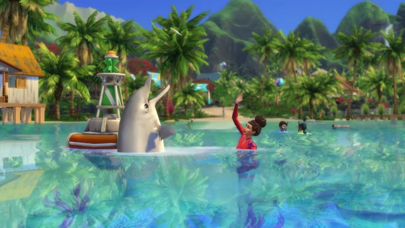 The Sims 4 Island Living swimming with a dolphin