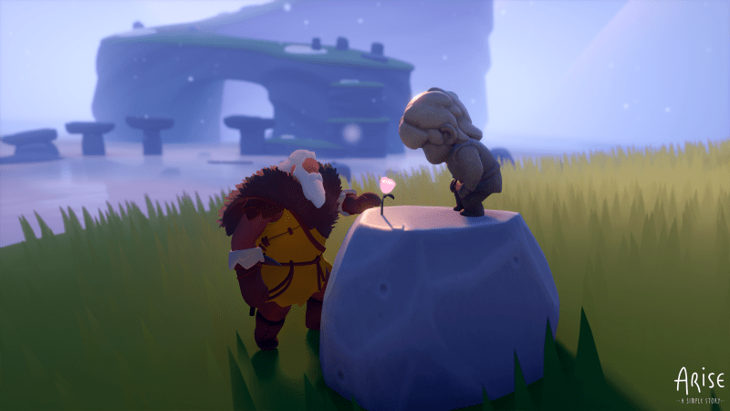 Arise: A Simple Story Screenshot of Player and NPC looking at glowing flower on a rock