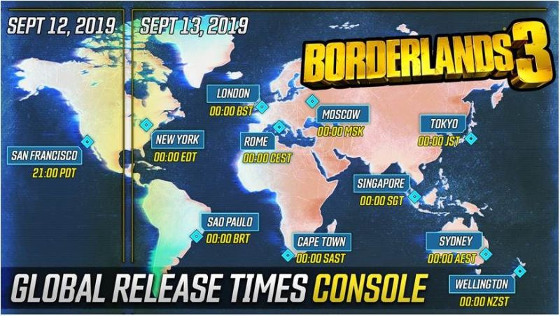 Borderlands 3 Global Release Times Console Map