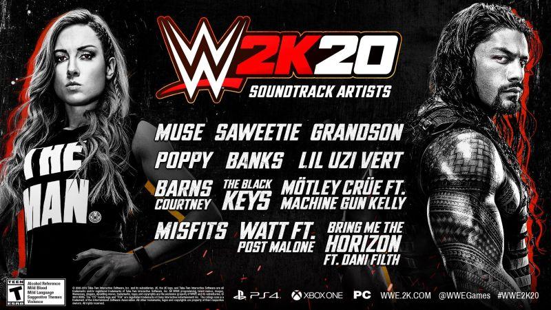 WWE2K20 Soundtrack Listings
