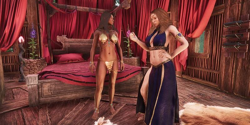 Debaucheries of Derketo DLC Screenshot showing two women in not very much clothing