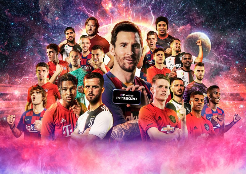 eFootball PES 2020 Mobile with Messi holding a phone surrounded by other players