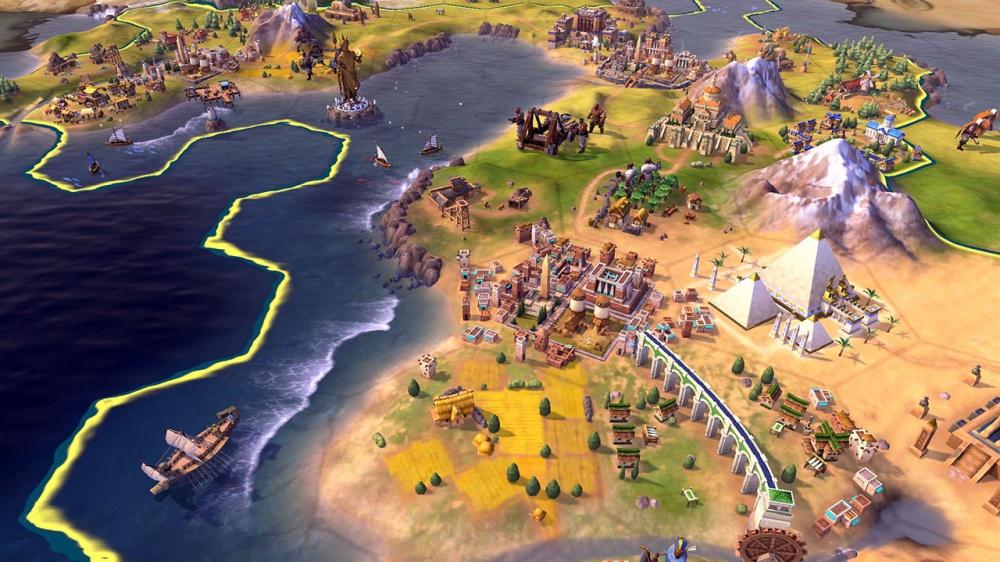Sid Meier's Civilization VI gameplay of sea, beach and land