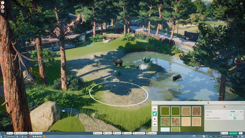 Screenshot from Planet Zoo demo at Gamescom showing a grass area